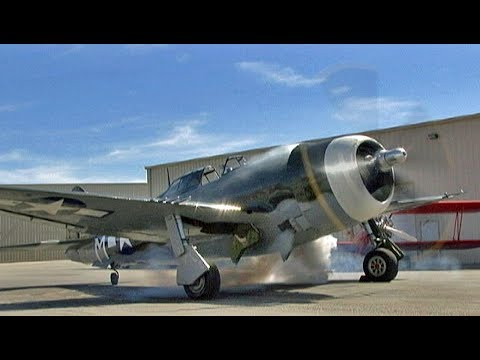 "Restored WWII Republic P-47 Thunderbolt ""Razorback"" Fighter Flight Demo !"