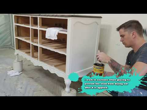 Painted Furniture Provincial Dresser Makeover - DIY - Glazing With Wood Stain