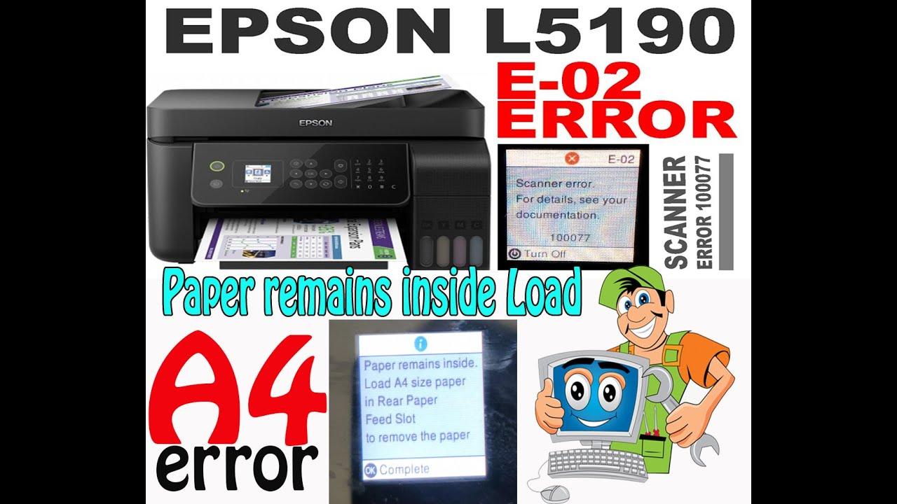 EPSON L5190 SCANNER ERROR 100077 - YouTube