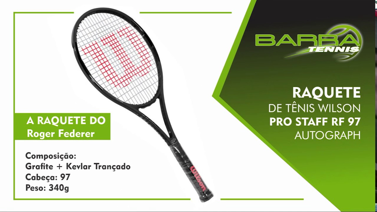 Raquete de Tênis Wilson Pro Staff RF 97 Autograph Roger Federer Esporte  Barra Tennis fa2183259b65b