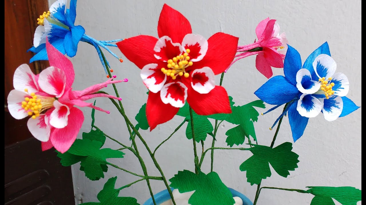 How to make paper flowers columbine aquilegia flower 81 youtube izmirmasajfo