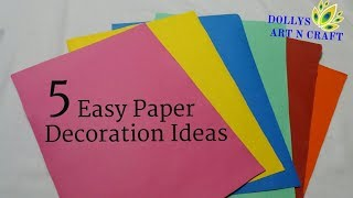 5 Easy Paper Decorations | Ganesh Chaturthi / Diwali / Christmas / New Year Decoration Ideas |