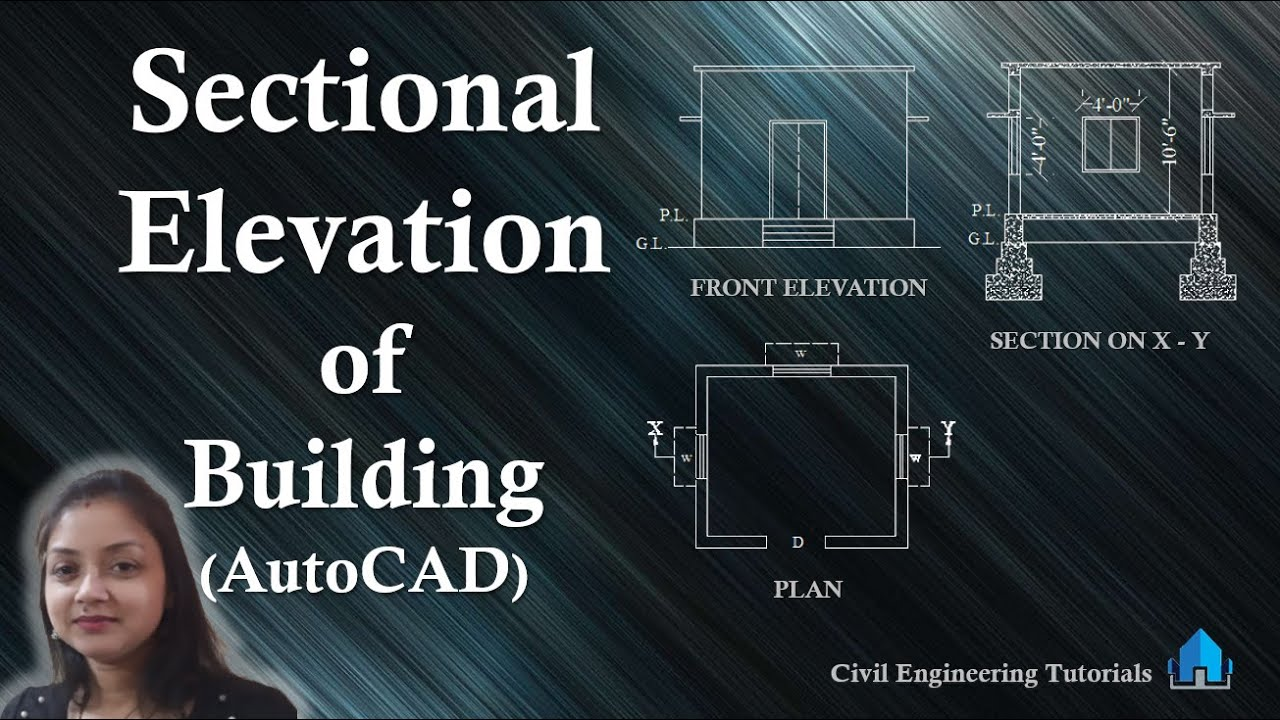 How To Draw The Front Elevation Of A Building : How to draw sectional elevation of a building in autocad