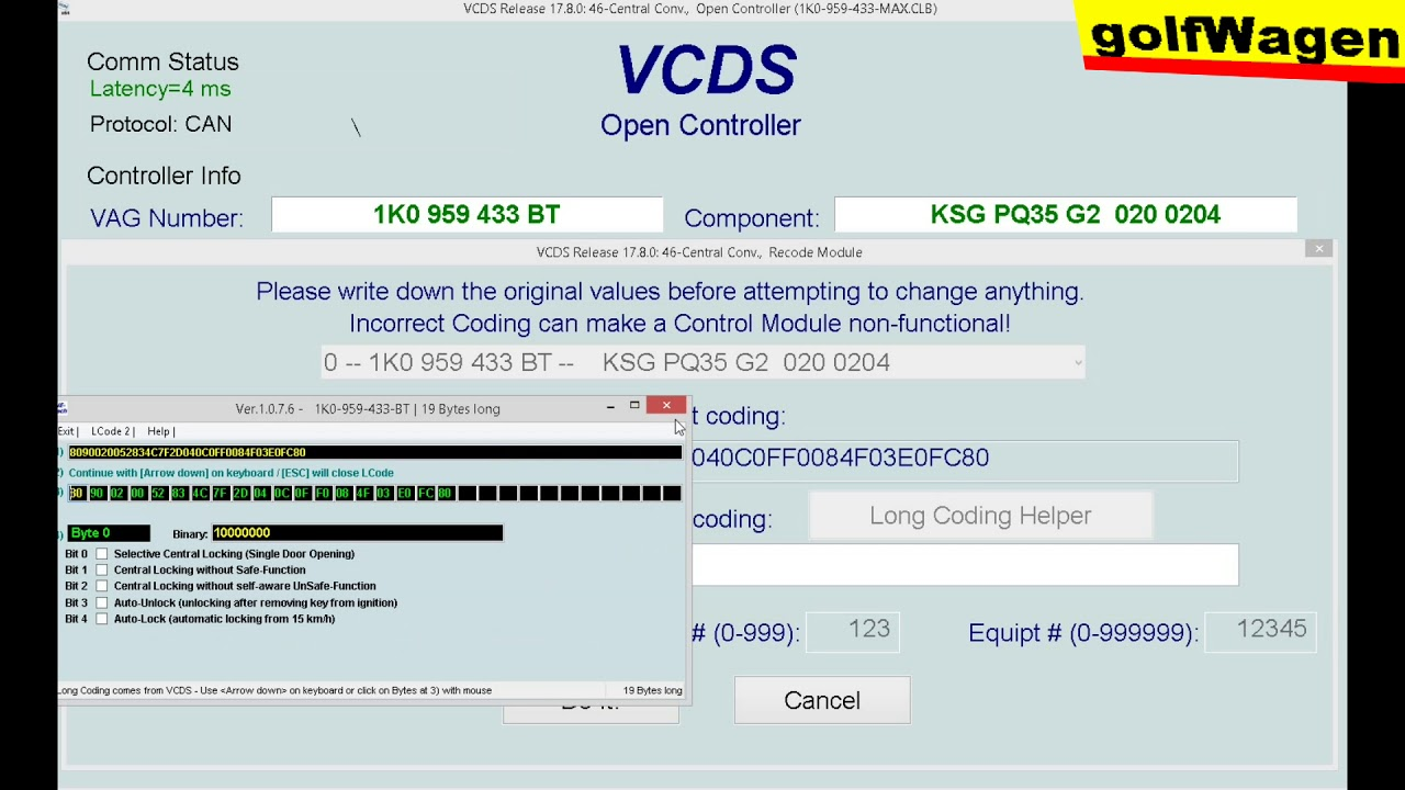 VW Golf 5, 1 9TDI 77kW /2008/ VCDS-VAG options (VCDS Release 17 8)