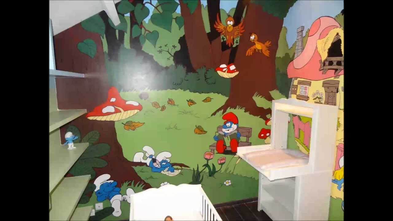 Chambre denfant Schtroumpfs - Smurfs Childs room - YouTube