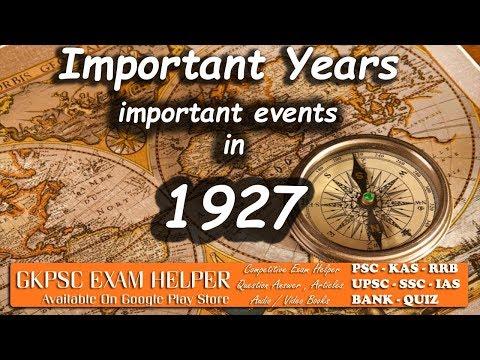 Important Events of 1927   Kerala PSC Coaching Class Malayalam#