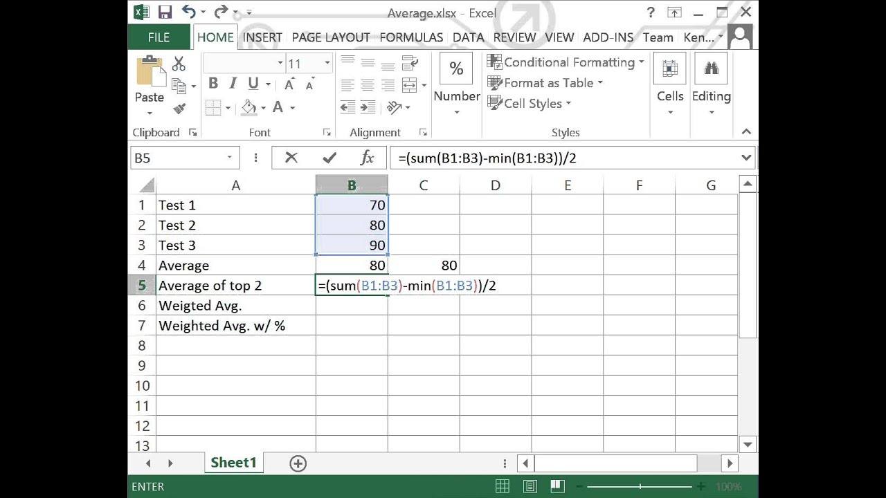 Average and weighted with excel also youtube rh