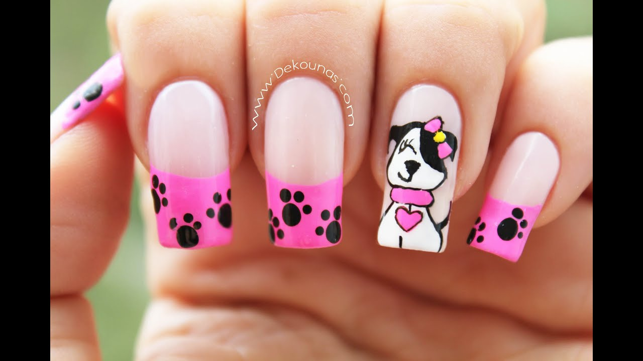 Decoraci n de u as perrita little poppy nail art youtube for Decoracion unas