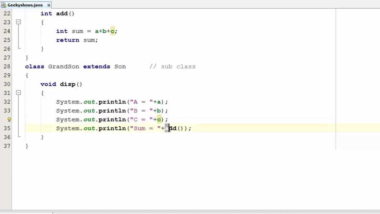 write a program to implement multilevel inheritance