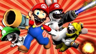 Mario teams up with Mario, Luigi and Peach Rabbid to save the Rabbi...