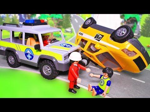 Видео для детей с игрушками Плеймобил. Мультфильм про машинки – Обвал в горах. Спасательная машина
