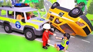 Видео для детей с игрушками Плеймобил. Мультфильм про машинки Обвал в горах. Спасательная машина