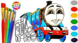 Coloring with Thomas and Friends ♦ How to Draw Gordon ♦ Learn Colors Video for Kids
