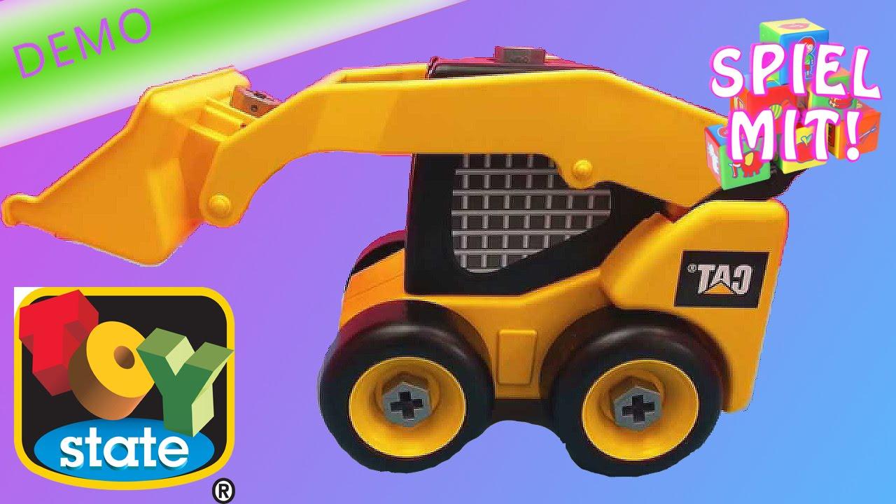 spielzeug bagger - cat radlader kompaktlader demo - mit schrauben