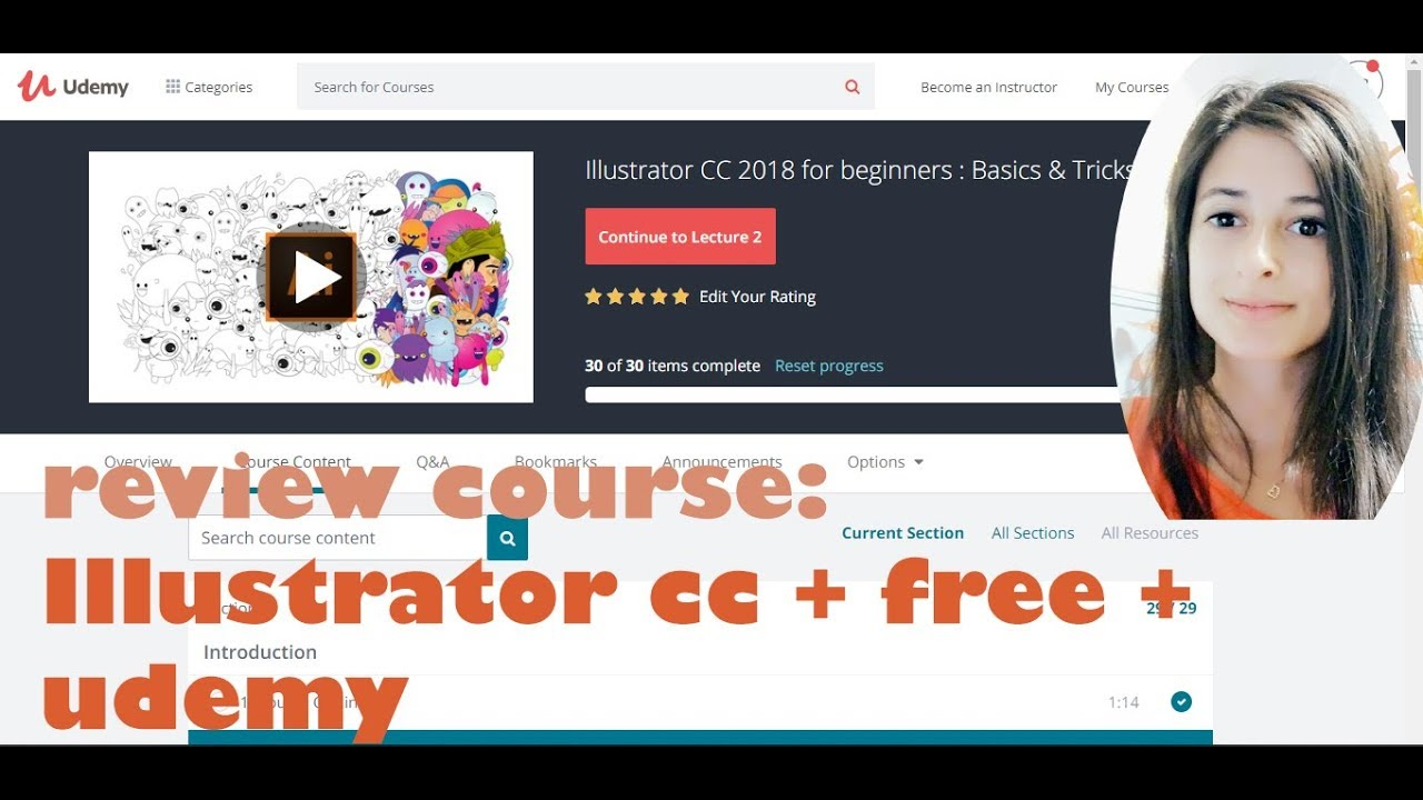 Illustrator CC 2018 - Udemy - free | Reviewing online tech courses
