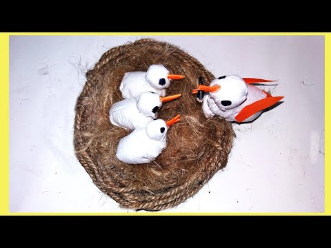 Make Bird with their little babies in nest from cotton and Tissue paper