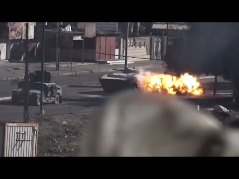 The footage unsuccessful battle for hospital in Mosul, which killed a lot of Iraqi armored vehicles