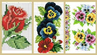 Most Beautiful Cross Stitches Flowers Pattern awesome Embroidery Design