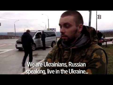 In Ukraine Crimea's Simferopol a man explains why the airports are blockade [аэропорт заблокирован]
