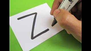 "How to turn Letter ""Z"" into a Cartoon ZIP ! Fun with Alphabets Drawing for kids"