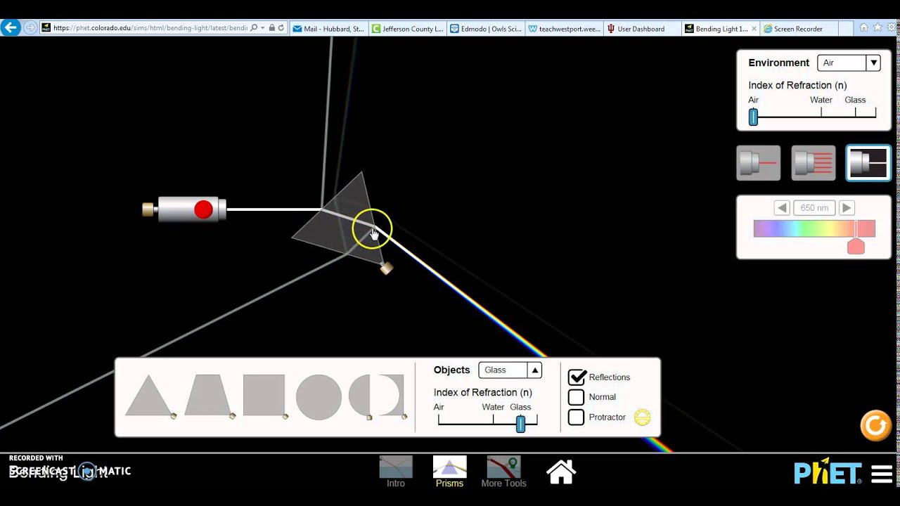 Phet Simulations Bending Light