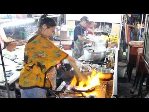 Thai Street Food: My Dinner Tonight. Eating Street Food at a Night Market in Thailand.