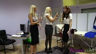 Doctor feminizes her male patient. Male to female transformation