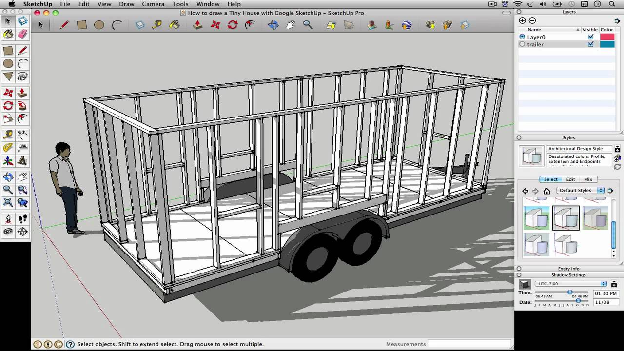 How To Draw A Tiny House With Google Sketchup Part 1
