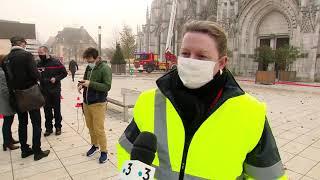 A la Cathédrale d'Evreux, un exercice incendie grandeur nature pour les sapeurs-pompiers
