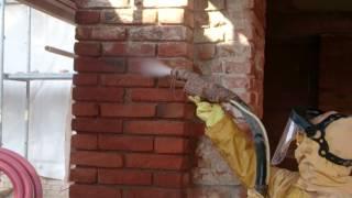 tryskání, pískování cihlového zdiva - Mžany