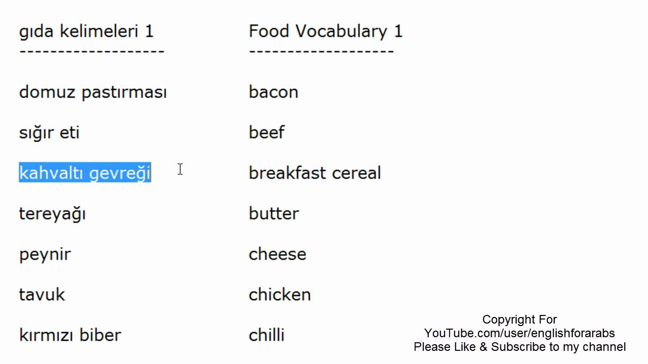 Food vocabulary in Turkish part 1 - Turkish For Beginners