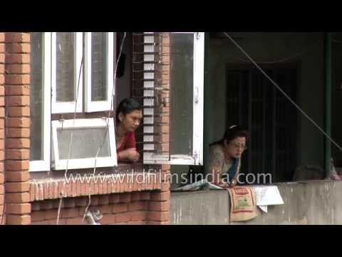 Women wait for customers: Himalayan Ayurvedic Massage parlour in Kathmandu, Nepal