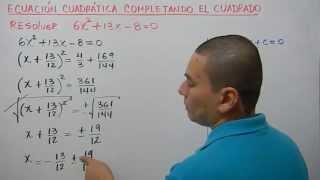 Completando el trinomio cuadrado perfecto para resolver una ecuación cuadrática. Ejemplo 4