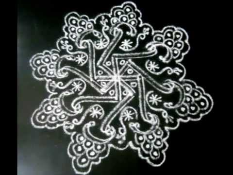 Photos of 9 white rangoli designs