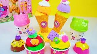 玩 Hello Kitty 黏土培樂多 冰淇淋 組合 玩具 開箱 Hello Kitty Ice cream Play Doh Set