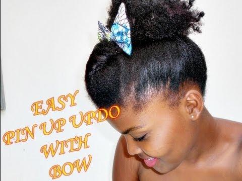 Coiffure rapide pour cheveux crépus courts (updo with bow)