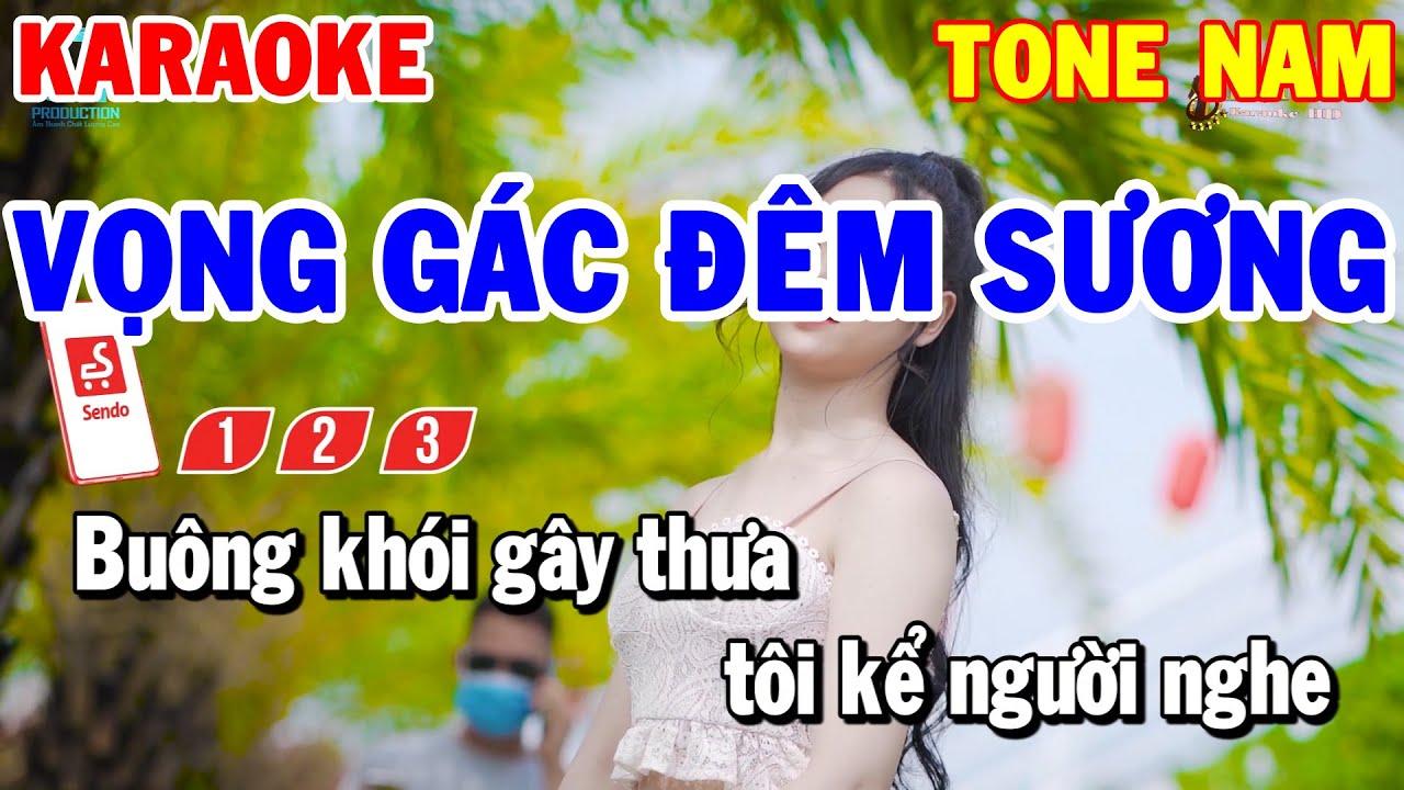 Karaoke Vọng Gác Đêm Sương Tone Nam | Nhạc Sống Trữ Tình Rumba Beat Hay Dễ Hát | Karaoke Thanh Hải
