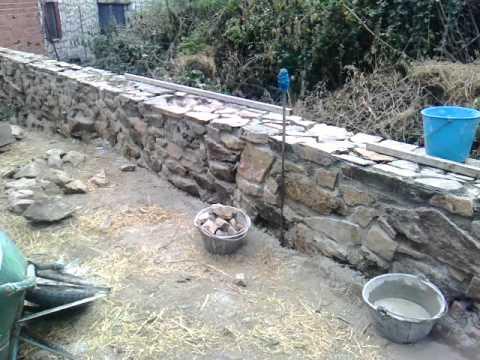 Muro mamposter a de piedra 2 youtube - Como hacer muros de piedra ...