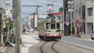 土佐電鉄伊野駅電車発車・到着