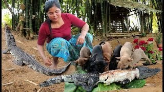 survival in the Nature Food - woman finding crocodile for dog - Eating delicious