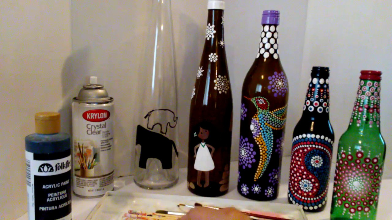 Mandala Dot Painting Recycling Glass Bottles Jars