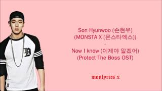 Son Hyunwoo/Shownu (MONSTA X) - Now I know (이제야 알겠어) (Protect The Boss OST) (Han/Rom/Eng/Esp Lyrics)
