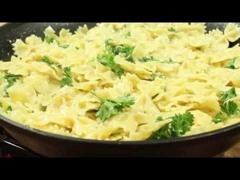 Garlic Parmesan Pasta with Grilled Pork Loin