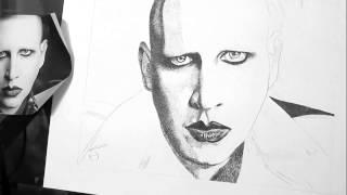 Marilyn Manson Stipple Portrait by Alexis Barringer