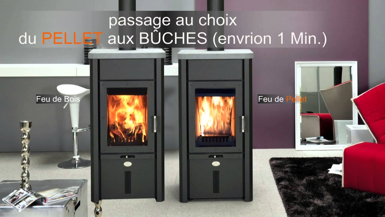 po le mixte pellet et bois max blank mod le odin s youtube. Black Bedroom Furniture Sets. Home Design Ideas