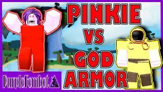 Pinkie vs God Armor ~ PVP (Roblox Booga Booga)