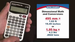 Construction Master Pro (Metric) Dimensional Math and Conversions How To