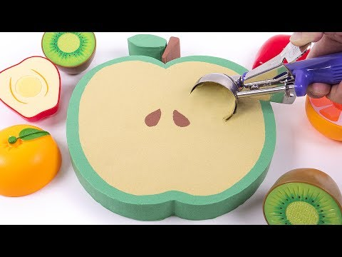 DIY How to Make Kinetic Sand Green Apple Ice Cream Skwooshi Toys Sand Play for Kids Children