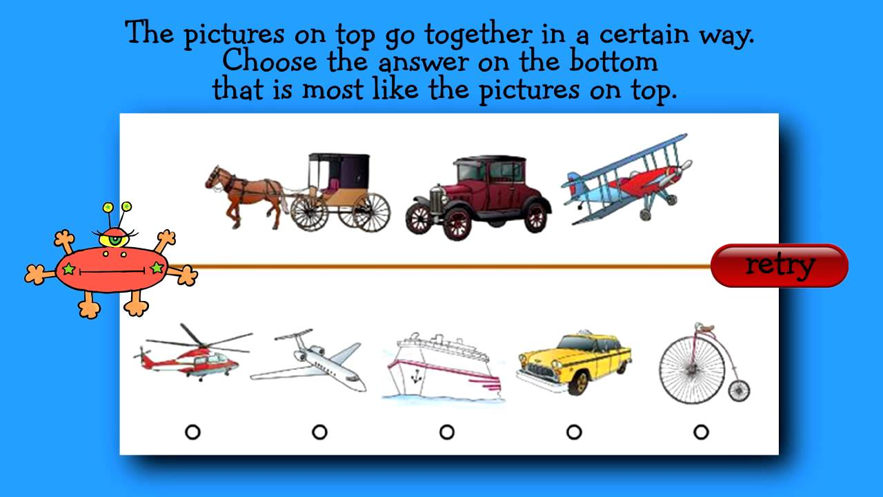 hight resolution of Interactive Practice Question for CogAT First Grade Level - YouTube
