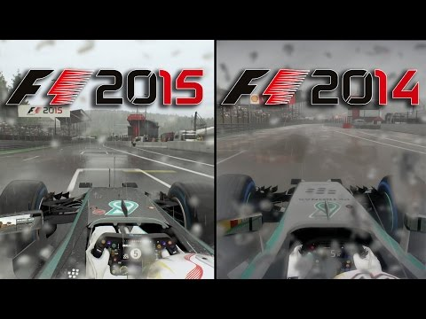 F1 2015 Vs F1 2014 - Graphics & Sounds Comparison @ Spa Rain
